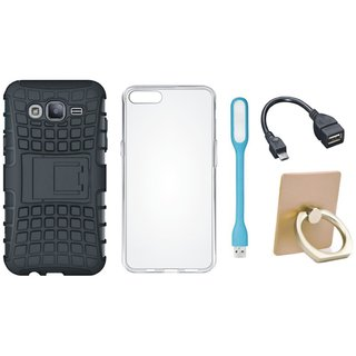 Samsung J7 Pro Defender Tough Hybrid Shockproof Cover with Ring Stand Holder, Silicon Back Cover, USB LED Light and OTG Cable