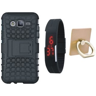 Samsung J7 Pro Defender Tough Armour Shockproof Cover with Ring Stand Holder, Digital Watch