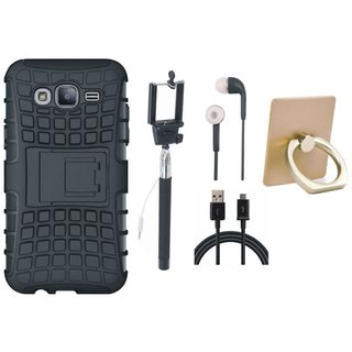 Samsung J7 Pro Defender Tough Armour Shockproof Cover with Ring Stand Holder, Selfie Stick, Earphones and USB Cable