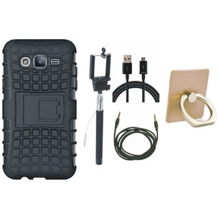 Vivo Y69 Shockproof Tough Defender Cover with Ring Stand Holder, Selfie Stick, USB Cable and AUX Cable