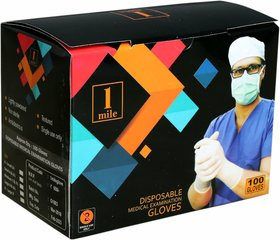 1Mile Examination Gloves (Size-S) (Pack of 100 Gloves)