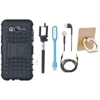 Samsung J7 Pro Shockproof Kick Stand Defender Back Cover with Ring Stand Holder, Selfie Stick, Earphones, USB LED Light and AUX Cable