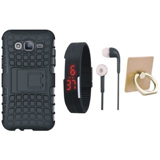 Samsung J7 Pro Shockproof Kick Stand Defender Back Cover with Ring Stand Holder, Digital Watch and Earphones