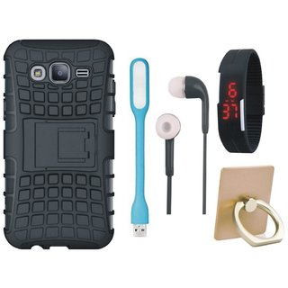 Samsung J7 Pro Shockproof Kick Stand Defender Back Cover with Ring Stand Holder, Digital Watch, Earphones and USB LED Light