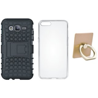Samsung J7 Pro Shockproof Kick Stand Defender Back Cover with Ring Stand Holder, Silicon Back Cover, Free Silicon Back Cover