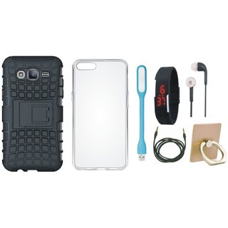 Samsung J7 Pro Shockproof Cover with Ring Stand Holder, Silicon Back Cover, Digital Watch, Earphones, USB LED Light and AUX Cable