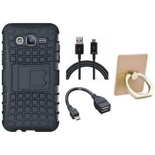 Vivo V9 Defender Tough Hybrid Shockproof Cover with Ring Stand Holder, OTG Cable and USB Cable