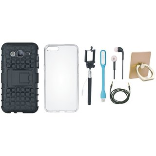 Redmi 5 Shockproof Tough Defender Cover with Ring Stand Holder, Silicon Back Cover, Selfie Stick, Earphones, USB LED Light and AUX Cable