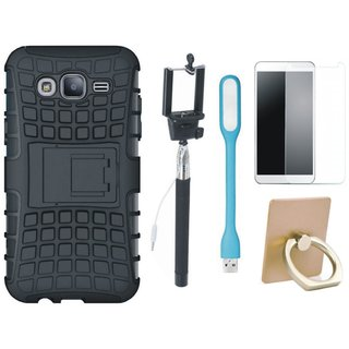 Samsung J7 Pro Defender Back Cover with Kick Stand with Ring Stand Holder, Free Selfie Stick, Tempered Glass, and LED Light