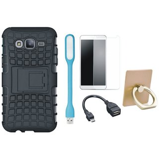 Oppo F1s Defender Tough Hybrid Shockproof Cover with Ring Stand Holder, Tempered Glass, USB LED Light and OTG Cable