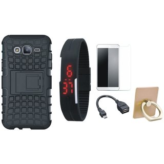 Vivo V9 Shockproof Tough Defender Cover with Ring Stand Holder, Free Digital LED Watch, Tempered Glass and OTG Cable