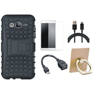 Oppo F1s Defender Tough Armour Shockproof Cover with Ring Stand Holder, Tempered Glass, OTG Cable and USB Cable