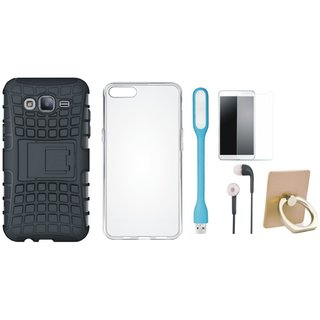 Oppo F7 Shockproof Tough Armour Defender Case with Ring Stand Holder, Silicon Back Cover, Tempered Glass, Earphones and USB LED Light