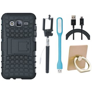Samsung On7 Prime Dual Protection Defender Back Case with Ring Stand Holder, Selfie Stick, USB LED Light and USB Cable