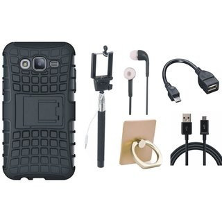 Samsung On7 Prime Dual Protection Defender Back Case with Ring Stand Holder, Selfie Stick, Earphones, OTG Cable and USB Cable