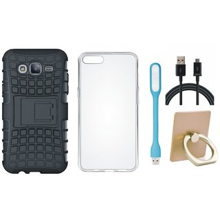 Samsung On7 Prime Shockproof Tough Defender Cover with Ring Stand Holder, Silicon Back Cover, USB LED Light and USB Cable