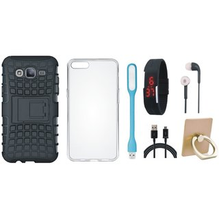 Samsung On7 Prime Cover with Ring Stand Holder, Silicon Back Cover, Digital Watch, Earphones, USB LED Light and USB Cable