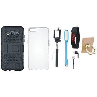 Samsung On7 Prime Cover with Ring Stand Holder, Silicon Back Cover, Selfie Stick, Digtal Watch, Earphones and USB LED Light