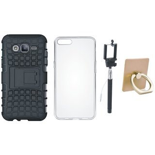 Samsung On7 Prime Shockproof Tough Defender Cover with Ring Stand Holder, Silicon Back Cover, Free Silicon Back Cover and Selfie Stick