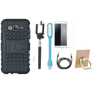 Samsung J5 2016 Version J510 Shockproof Kick Stand Defender Back Cover with Ring Stand Holder, Free Selfie Stick, Tempered Glass, LED Light and AUX Cable