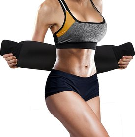 Waist Trimmer Fat Burner Belly Tummy Yoga Wrap Black Exercise Body Slim Look Sweat Slim Belt Free Size (Unisex)