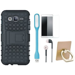 Samsung On7 Prime Shockproof Tough Defender Cover with Ring Stand Holder, Tempered Glass, Earphones and USB LED Light