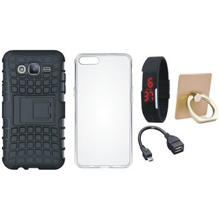 Samsung On7 Prime Shockproof Tough Defender Cover with Ring Stand Holder, Silicon Back Cover, Digital Watch and OTG Cable