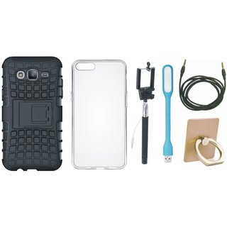 Samsung On7 Prime Shockproof Tough Defender Cover with Ring Stand Holder, Silicon Back Cover, Selfie Stick, USB LED Light and AUX Cable