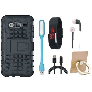 Samsung On7 Prime Shockproof Tough Defender Cover with Ring Stand Holder, Digital Watch, Earphones, USB LED Light and USB Cable