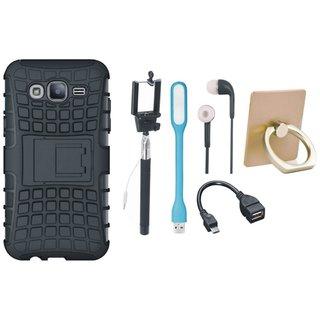 Samsung J7 Prime 2 Defender Tough Hybrid Shockproof Cover with Ring Stand Holder, Selfie Stick, Earphones, OTG Cable and USB LED Light