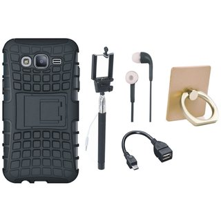 Samsung J5 2016 Version J510 Dual Protection Defender Back Case with Ring Stand Holder, Selfie Stick, Earphones and OTG Cable