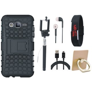 Samsung J7 Prime 2 Defender Tough Hybrid Shockproof Cover with Ring Stand Holder, Selfie Stick, Digtal Watch, Earphones and USB Cable