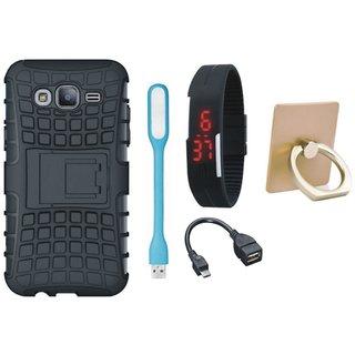 Samsung J7 Prime 2 Defender Tough Hybrid Shockproof Cover with Ring Stand Holder, Digital Watch, OTG Cable and USB LED Light