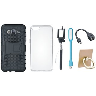 Samsung J7 Prime 2 Defender Tough Hybrid Shockproof Cover with Ring Stand Holder, Silicon Back Cover, Selfie Stick, LED Light and OTG Cable
