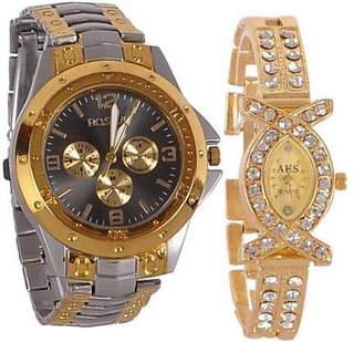 Rosra Black Gold Quartz Couple Watches