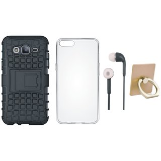Vivo V5 Defender Tough Hybrid Shockproof Cover with Ring Stand Holder, Silicon Back Cover and Earphones