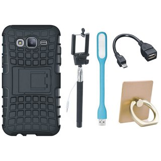 Samsung J7 Prime 2 Defender Tough Armour Shockproof Cover with Ring Stand Holder, Selfie Stick, LED Light and OTG Cable