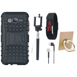 Samsung J7 Prime 2 Defender Tough Armour Shockproof Cover with Ring Stand Holder, Selfie Stick, Digtal Watch and Earphones