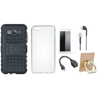 Samsung J7 Prime 2 Shockproof Tough Armour Defender Case with Ring Stand Holder, Silicon Back Cover, Tempered Glass, Earphones and OTG Cable