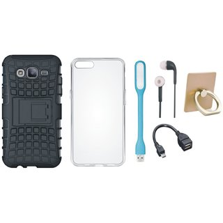 Vivo V5 Defender Tough Hybrid Shockproof Cover with Ring Stand Holder, Silicon Back Cover, Earphones, USB LED Light and OTG Cable