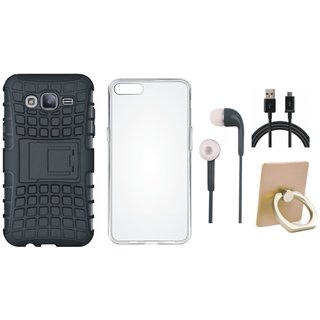 Samsung J7 Prime 2 Shockproof Tough Armour Defender Case with Ring Stand Holder, Silicon Back Cover, Earphones and USB Cable
