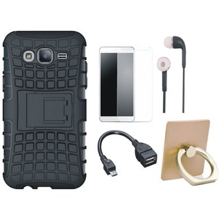 Samsung J7 Prime 2 Shockproof Tough Armour Defender Case with Ring Stand Holder, Tempered Glass, Earphones and OTG Cable
