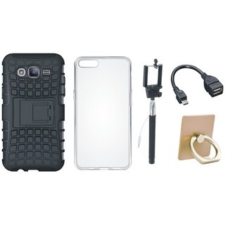 Vivo V5 Plus Defender Tough Hybrid Shockproof Cover with Ring Stand Holder, Silicon Back Cover, Selfie Stick and OTG Cable