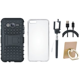 Samsung J7 Prime 2 Shockproof Tough Armour Defender Case with Ring Stand Holder, Silicon Back Cover, Selfie Stick and USB Cable