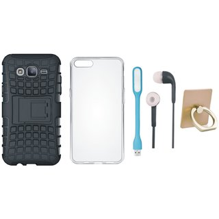 Samsung J5 2016 Version J510 Shockproof Tough Defender Cover with Ring Stand Holder, Silicon Back Cover, Earphones and USB LED Light