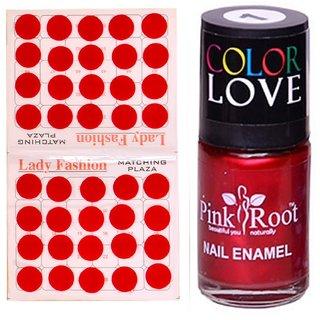 Pink Root Nail Polish No. 01 (15ml) Lady Fashion No. 07 Red Bindi