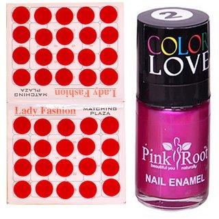 Pink Root Nail Polish No. 02 (15ml) Lady Fashion No. 07 Red Bindi