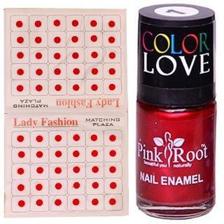 Pink Root Nail Polish No. 01 (15ml) Lady Fashion No. 08 Red Bindi