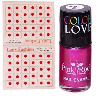 Pink Root Nail Polish No. 02 (15ml) Lady Fashion No. 08 Red Bindi