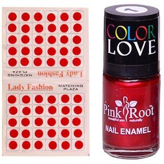Pink Root Nail Polish No. 01 (15ml) Lady Fashion No. 09 Red Bindi